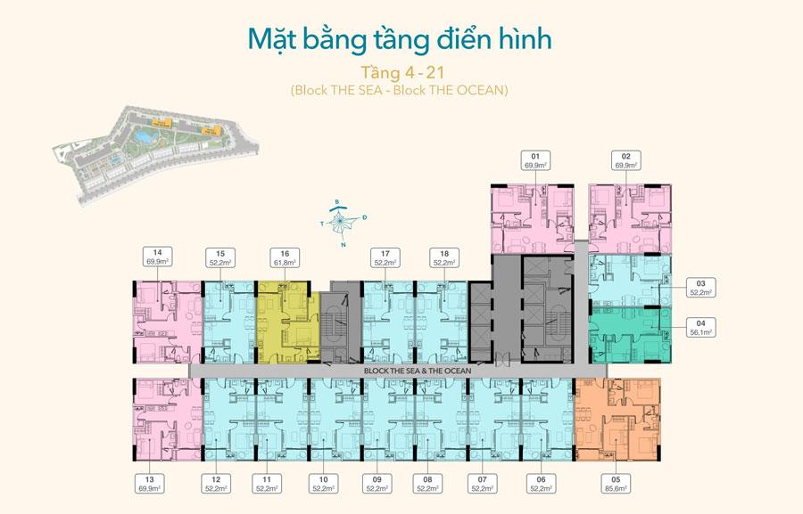 Sơ bộ mặt bằng điển hình của các tầng từ 4 - 21 nơi đặt các căn hộ sản phẩm