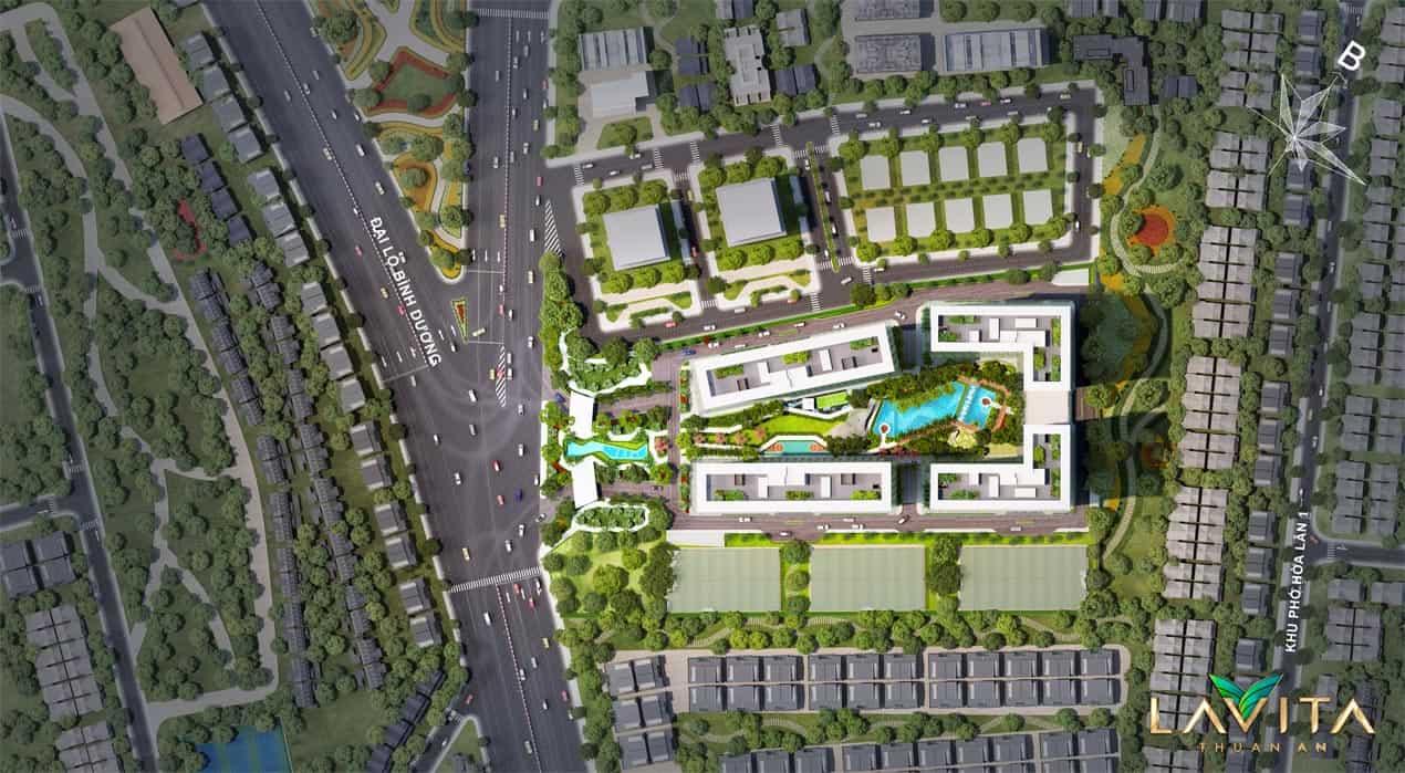 Cấu trúc gồm 4 block với thiết kế dạng tháp cao tầng đối xứng