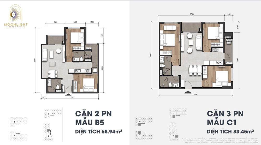 Mẫu căn hộ 2-3 phòng ngủ Moonlight Centre Point