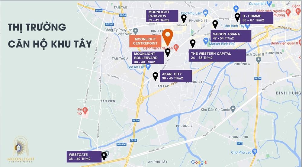 Giá bán căn hộ thị trường khu Tây Sài Gòn