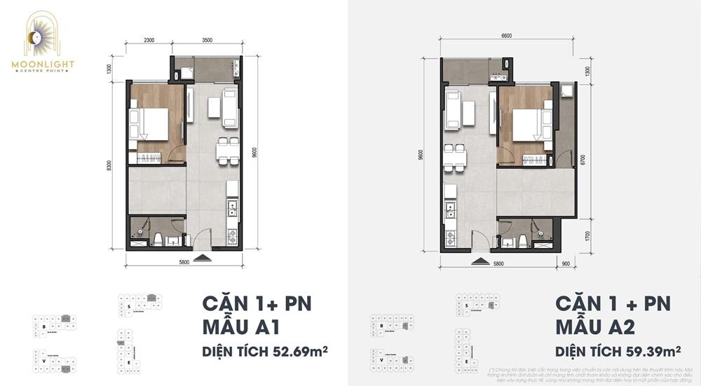 Thiết kế căn hộ 1+ phòng ngủ Moonlight Centrer Point
