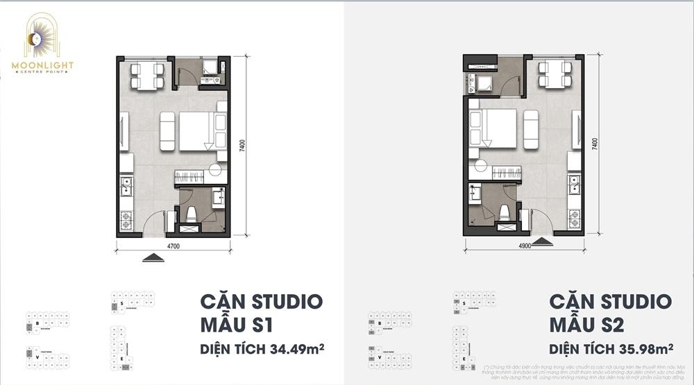 Thiết kế căn hộ Studio 34-35m2 Moonlight Centre Point