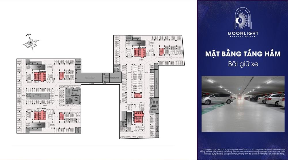 Tầng hầm gửi xe căn hộ Moonlight Centre Point Bình Tân